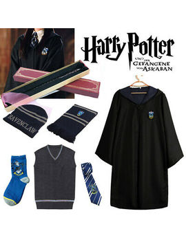 Harry Potter Ravenclaw Robe Cloak Vest Scarf Magical Wand Cosplay Costume Cape by Unbranded