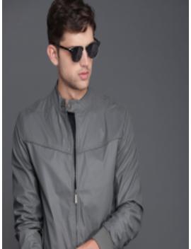 Men Grey Solid Bomber Jacket by Wrogn