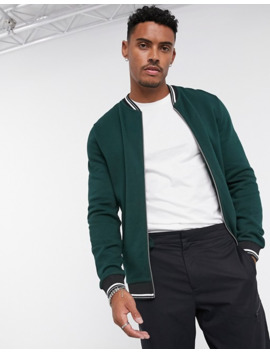 Asos Design Jersey Bomber Jacket In Green With Striped Rib by Asos Design