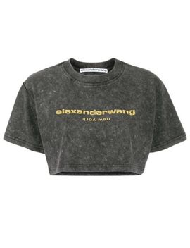 Logo Embroidered Cropped T Shirt by Alexander Wang