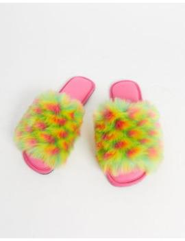 Zapatillas De Estar En Casa En Piel Sintética Multicolor Zazzy De Asos Design by Asos Design