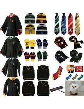 Harry Potter Adult Kids Cloak Scarf Tie Gloves Vest Hat Robe Fancy Costume Set by Unbranded