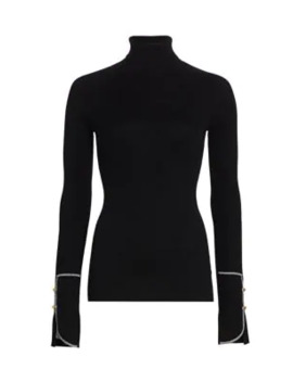 Button Trimmed Silk & Cashmere Turtleneck by Proenza Schouler