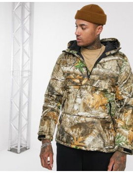 Pull&Amp;Bear Puffer Jacket With Real Tree Print In Green by Pull&Bear