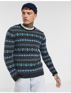 Pull&Bear Sweater With Knit Detailing In Navy/Gray by Pull&Bear