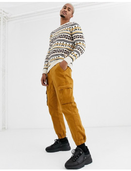 Pull&Bear Crew Neck Sweater With Knit Detailing In Cream by Pull&Bear