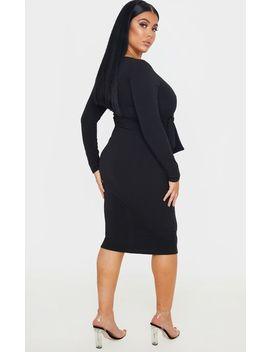 Plus Black Long Sleeve Wrap Waist Midi Dress by Prettylittlething