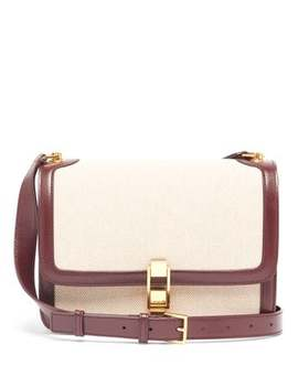 Carre Leather And Canvas Cross Body Bag by Saint Laurent
