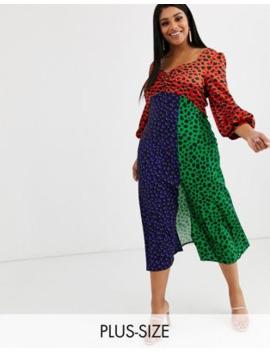 Vestido Semilargo De Satén Con Estampado De Lunares Multicolor De Liquorish Plus by Liquorish