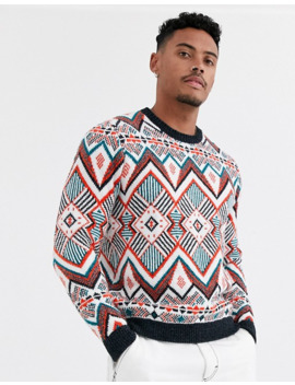 Asos Design Knitted Heavyweight Sweater In Multi Color Design by Asos Design