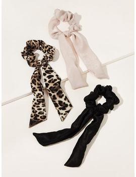 Leopard Pattern Velvet Scrunchie Scarf 3pcs by Sheinside
