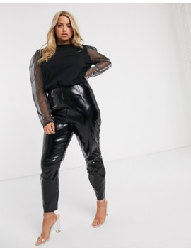 Asos Design Curve Top With Glitter Sleeve Detail In Black by Asos Design