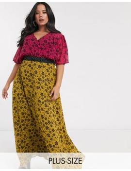 Vestido Semilargo De Chifón Con Estampado Floral Mix And Match De Twisted Wunder Plus by Twisted Wunder