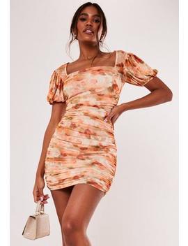 Peach Floral Mesh Puff Sleeve Mini Dress by Missguided