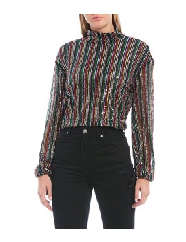 Midnight City Allover Rainbow Sequin Stripe Long Sleeve Blouse by Free People