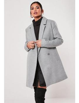 Grey Extreme Wrap Single Breasted Coat by Missguided