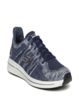 Men Navy Blue & Grey Burst 2.0 Smeeton Woven Design Sneakers by Skechers