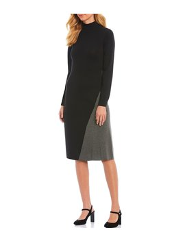 Colorblock Angle Design Mock Neck Sweater Dress by Calvin Klein