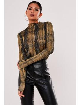 Recycled Brown Snake Print Bodysuit by Missguided