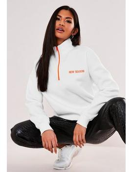 White New Season High Neck Zip Oversized Sweatshirt by Missguided