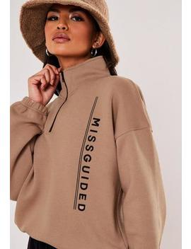 Sand Missguided Slogan Cropped High Neck Sweatshirt by Missguided