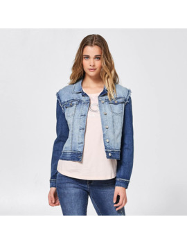 Bettina Liano Two Tone Denim Jacket   Enzyme Blue by Target