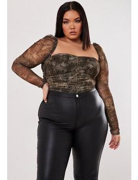Plus Size Brown Leopard Print Mesh Sleeve Bodysuit by Missguided