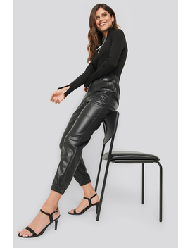 Faux Leather Jogger Pants Black by Ivanasantacruzxnakd