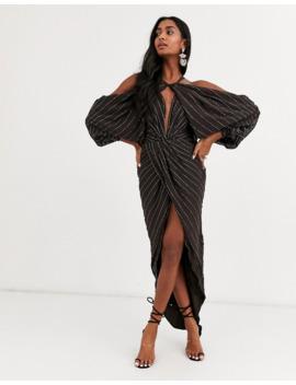 Asos Design Drape Shoulder Midi Dress With Linear Embellishment by Asos Design