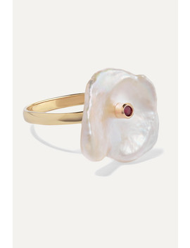 Gold, Pearl And Ruby Ring by Poppy Finch