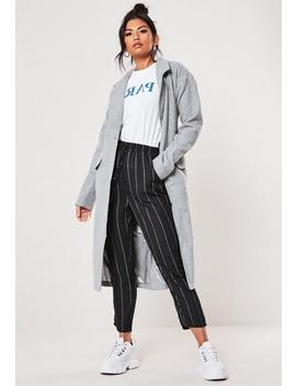 Tall Grey Belted Faux Wool Coat by Missguided