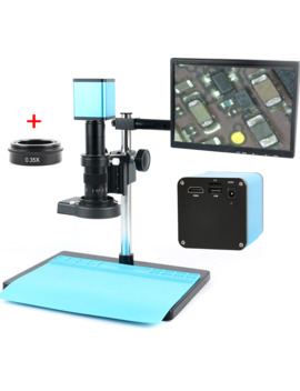 """Autofocus Sony Imx290 Hdmi Tf Video Auto Focus Industry Microscope Camera + 180 X C Mount Lens+Stand+144 Led Ring Light+10.1"""" Lcd by Ali Express.Com"""