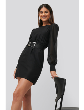 Belted Puff Sleeve Dress Black by Chloe B X Na Kd