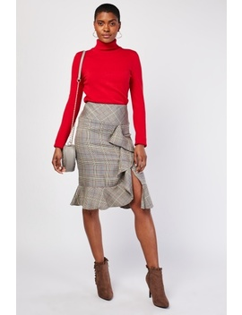 Glen Check Midi Ruffle Skirt by Everything5 Pounds