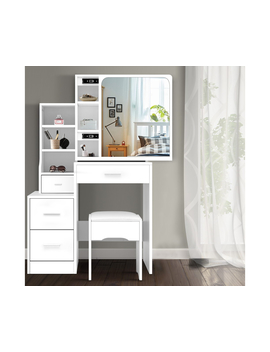 Dressing Table Stool Mirror Jewellery Cabinet Makeup Storage Drawer White by Artiss
