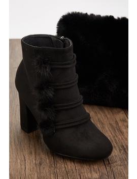 Fur Pom Pom Trim Boots by Everything5 Pounds