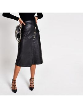 Black Faux Leather Button A Line Midi Skirt by River Island