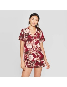 Women's Floral Print Beautifully Soft Notch Collar Pajama Set   Stars Above™ Burgundy by Stars Above
