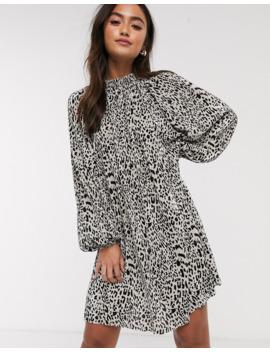 Asos Design Oversized Plisse Smock Dress In Animal Print by Asos Design