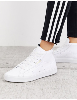 Adidas Originals Sleek Mid Top Sneaker In White And Gray by Adidas