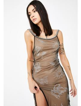 Mesh Cami Dress With Diamante Tattoo Detail by Jaded London