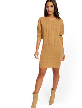 Cable Knit Dolman Sweater Dress by New York & Company
