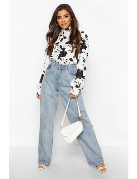 Woven Floral High Ride Shirred Blouse by Boohoo