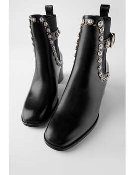 Pearl And Stud Mid Heel Ankle Boots by Zara