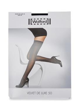 Velvet De Luxe Black 50 Denier Hold Ups by Wolford