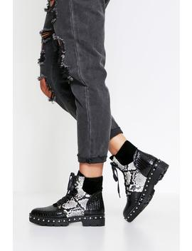 Snake & Croc Mixed Ankle Boot Snake & Croc Mixed Ankle Boot by Misspap