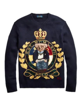 Logo Crest Wool Blend Sweater by Polo Ralph Lauren