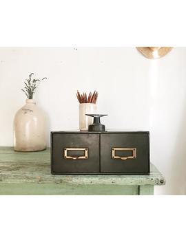 File Cabinet,Library Card Catalog,Storage Box,Desk Organizer,Desk Caddy,Vintage Drawer,Tool Storage,File Drawer,Rustic Storage,Farmhouse by Etsy