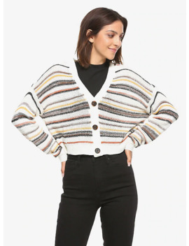 Cream &Amp; Brown Striped Girls Crop Cardigan by Hot Topic