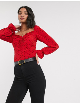 Topshop Blouse With Square Neck In Red by Topshop